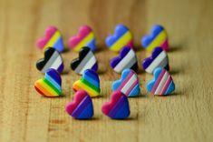 Asexual Heart Stud Earrings - LGBT Hypoallergenic Earrings For Sensitive Ears - Recycling Logo Lgbt Memes, Pansexual Pride, Lgbt Love, Biscuit, Cute Gay, Gay Pride, Stud Earrings, Handmade, Geek Jewelry