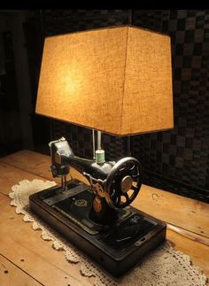 Sewing machine lamp vintage lamp table lamp new home sewing upcycled lighting upcycled vintage sewing machine table light upcycledhour aloadofball Images