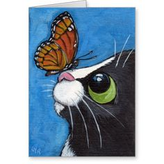 Tuxedo Cat and Viceroy Butterfly Postcard Art And Illustration, Butterfly Painting, Diy Canvas Art, Whimsical Art, Animal Paintings, Disney Paintings, Acrylic Paintings, Rock Art, Cat Art