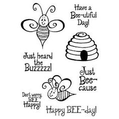 Stampers Anonymous Inky Antics Clear Stamp Set 4 x Bees, Other, Multicoloured, x x cm Filofax, Bee Drawing, Bee Cards, Bee Happy, Bees Knees, Mason Jar Crafts, Digi Stamps, Bee Keeping, Clear Stamps
