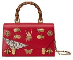 Gucci Small Linea P Painted Insects Leather Top Handle Satchel - Red.