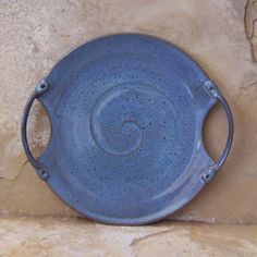 Rutile Blue  Stoneware Ceramic Pottery Serving Platter Tray.