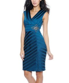 Teal Surplice Dress - Women | Daily deals for moms, babies and kids