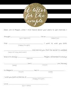 Black & White Striped Gold Glitter Bridal Shower Game // mad lib // Letter for the Couple // click here for pricing:  http://betsygettis.blogspot.com/p/design.html