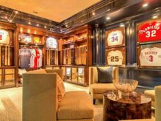 Gallery of man cave ideas for a small room including materials, decor, furniture, finishes, lighting & entertainment. See pictures of small man cave designs. Man Cave Designs, Man Cave Room, Man Cave Basement, Sports Memorabilia Room, Sports Man Cave, Man Cave Lighting, Framed Jersey, Ultimate Man Cave, Room Of One's Own