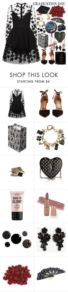 """Congrats, Grad: Graduation Day Style"" by martinabb ❤ liked on Polyvore featuring Elie Saab, Aquazzura, Chanel, Yves Saint Laurent, Nikon, NYX, Ann Taylor and Mason's"