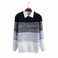 Luxury mens knitted Sweater O-neck Patchwork Striped Thick Mens Sweaters //Price: $44.99 & FREE Shipping //     #style