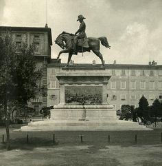 Italy Roma Monument Carlo Alberto old NPG Stereo Photo 1900