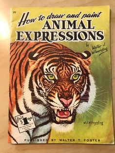 Art Supplies Fashion Style Vintage 1960's How To Draw Animals By Walter T Foster Great Varieties