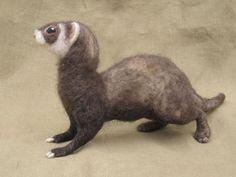 Needle felted ferret by Ainigmati on Etsy