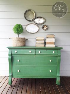 Empire dresser painted by Amanda of Ferpie and Fray in Old Fashioned Milk Paint Company --- Tavern Green
