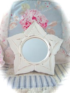HOLIDAY SALE Nautical Star Off White Cream Wood Carved Distressed Paint Shabby Cottage Chic. $16.50, via Etsy.