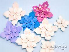 折り紙1枚だけで紫陽花の花をイメージできるアーティスティックなデザインになっています。