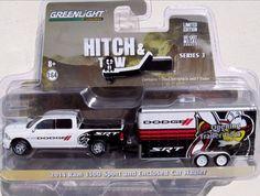 Greenlight Hitch & Tow Series 3 2014 Dodge RAM 1500 Sport HEMI & Car Hauler 1:64 #GreenLight #Dodge