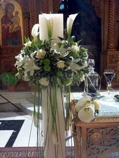 By Renee's Candles – Wedding Candles Ideas Church Wedding Decorations, Table Decorations, Holy Thursday, Orthodox Wedding, Wedding Unity Candles, Irish Wedding, Wedding Ceremony, Wedding Church, Holidays And Events