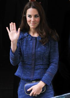 Kate wore an indigo tweed Rebecca Taylor suit for her visit to Goldsmiths' Hall today.