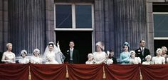 Princess Margaret and husband Antony Armstrong-Jones with the royal family on the balcony of Buckingham Palace on May 6, 1960.