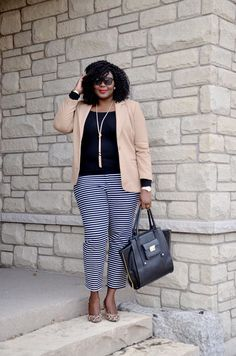 Plus size office outfit idea : Camel blazer, striped pants, leopard shoes - love this combo