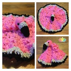 Flamingo Security Blanket (free pattern) – Handmade by Nimy I wanted to try something a little different with this one, so I used bobble stitch instead of the 9 or 12 point star. What you need Crochet hook: and Stitch marker safety eyes S… Crochet Lovey Free Pattern, Crochet Bear, Crochet Blanket Patterns, Cute Crochet, Baby Blanket Crochet, Crochet For Kids, Beautiful Crochet, Crochet Dolls, Baby Patterns