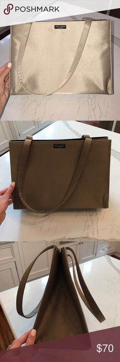 Vintage Kate Spade Nylon Handbag Authentic vintage Kate spade handbag. Gleaming bronze/ gold color. First picture shown is taken with flash. Has magnetic clasp. PERFECT condition. kate spade Bags Totes