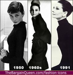 Audrey Hair.  Classic style.  Hair styles reflect the fashion of the decades and her age honestly.