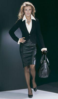 Black Leather Pencil Skirt Black Blazer White Blouse Sheer Black Pantyhose and Black High Heels