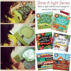 These Shine a Light books are so much fun!  You shine a flashlight behind the page to discover hidden pictures on the page.  It really makes reading FUN.