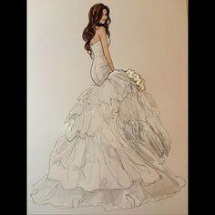 Just completed! Naomi in a gorgeous custom Shiraz Bridal- @naomikamara #realbride #bridalillustration For Illustration enquiry- please contact- karenorrillustration@gmail.com