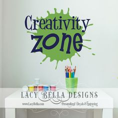 "www.lacybella.com  ""Creativity Zone"" vinyl letters craft room home decor sticker wall decal"