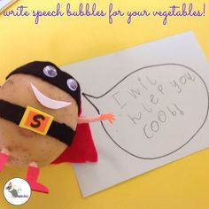 Captions idea- The children loved writing speech bubbles to show what Supertato might be… Eyfs Activities, Autumn Activities, Writing Activities, Educational Activities, Writing Resources, Eyfs Classroom, Superhero Classroom, Superhero Preschool, Classroom Ideas