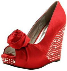 Amazon.com: Bridal Prom Wedge Heel Rose Diamante Platform Court Pumps Red US Sz 9: Shoes