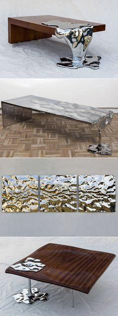 Artist Rado Kirov Manipulates Stainless Steel to Resemble Dripping Mercury in Furniture Collection.