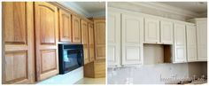 Before and after with DIY instructions on how to paint oak kitchen cabinets white.