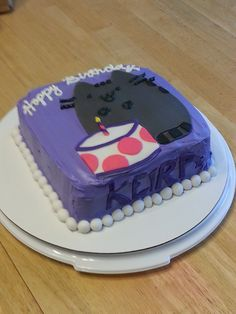 Pusheen, Kitty cake. Birthday girl requested a kitty so here it is. Chocolate cake with tinted vanilla icing. Cat, cat's cake, name and pearls are fondant.