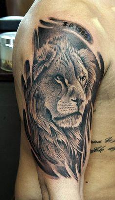 Mod le tatouage lion tribal sur l 39 paule tatouage signe - Tatouage lion epaule ...