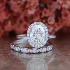 Bridal Set Forever Brilliant Moissanite Engagement Ring and Scalloped Diamond Wedding Band in 14k White Gold 9x7mm Oval Cut Halo Ring