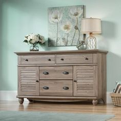 Sauder Harbor View 4-Dresser, Salt Oak. To be used as TV stand, bar and message center.