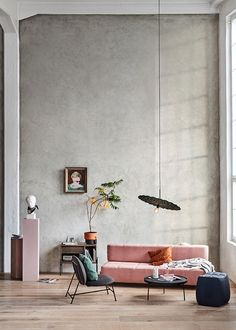 my scandinavian home: A Fabulous Debut Collection from Nothern #pinksofa #concretewall #sittingroom