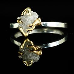 Large Raw Diamond Engagement Ring Conflict Free Crystal Natural Diamond