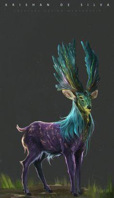 Fantasy Violett, blau, grüner Hirsch mit vier Augen