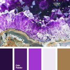amethyst, amethyst color, bright violet, brown and violet, color of amethyst crystals, color of crystals, dark-violet, gold, gold color, pale purple, pale violet, shades of purple, shades of violet, soft purple color, violet and