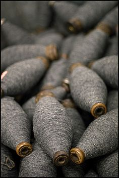 ~ Living a Beautiful Life ~ bobbins with gray wool