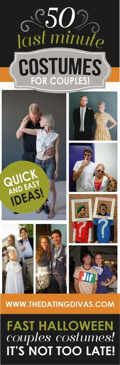 Easy costume ideas for couples- most of them you could throw together using items in your closet and around the house!!!
