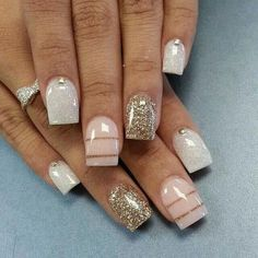 We have found 40 of the very best nail art designs for you! All of these nail art designs feature unique designs and beautiful displays of art. Being able to provide art on your very own nails speaks volumes on how you keep up with your own appearance. Get Nails, Fancy Nails, Love Nails, Hair And Nails, Sparkly Nails, Gold Nail, Classy Nails, Bling Nails, Fabulous Nails