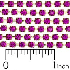 Fuchsia Gold Plated Rhinestone Cup Chain 12ss (3mm) BY THE FOOT. | Eureka Crystal Beads