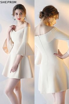 Onsale, Off Shoulder Short Champagne Party Dress with Bell Sleeves at … Onsale, schulterfreies kurzes Champagner-Partykleid mit Glockenärmeln Trendy Dresses, Sexy Dresses, Dress Outfits, Nice Dresses, Evening Dresses, Short Dresses, Fashion Dresses, Prom Dresses, Dresses With Sleeves
