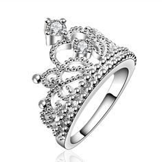 Christmas Gift Silver Plated Vintage Jewelry Aliancas Casamento Austrian Crystal Crown Rings For Women Princess Ring