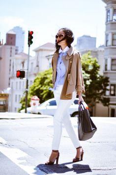 @Anh Contrast collar blouse - Banana Republic / Trench cape - Stella McCartney / Pants - Zara / Purse - Celine / Heels - Alaia / Sunglasses - Prada