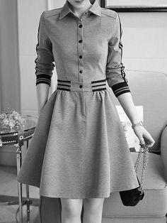 Shirt Collar Women Gray Cotton Casual Buttoned Plain Dress Buy Dress For Women at PopJulia. Online Shopping Popjulia Shirt Collar Women Dress A-line Daily Dress Buy Dress, Shirt Dress, Collar Dress, Short Beach Dresses, Dress Long, Plain Dress, Daily Dress, Mode Vintage, Mode Outfits