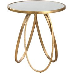 Tiff Hollywood Regency Antique Mirror Gold Oval Ring End Table ($284) ❤ liked on Polyvore featuring home, furniture, tables, accent tables, gold leaf side table, oval table, gold end table, oval accent table and gold furniture